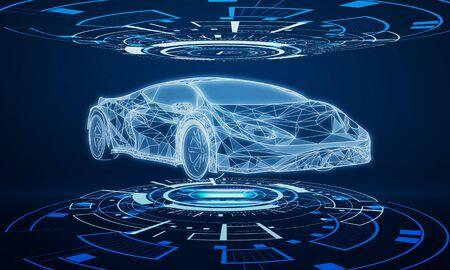 Interface d'hologramme de voiture brillante créative sur fond bleu foncé. Diagnostic des transports et concept de technologie futuriste. Rendu 3D
