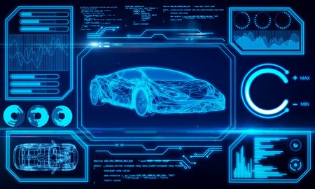 Abstract glowing car hologram interface on dark blue background. Transport diagnostics and futuristic technology concept. 3D Rendering Imagens