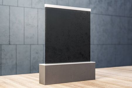 Abstract clean black banner on concrete tile wall background. Gallery and exhibition concept. Mock up, 3D Rendering