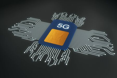 Creative 5G internet circuit sim card on dark background. Web speed and technology concept. 3D Rendering