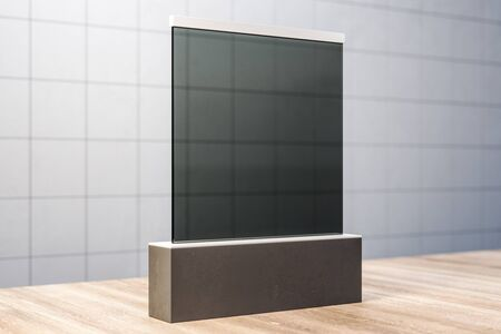 Abstract blank black glass banner on concrete tile wall background. Gallery and exhibition concept. Mock up, 3D Rendering