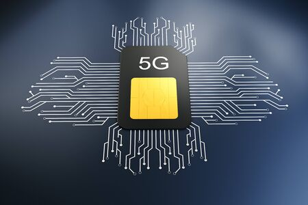 Creative 5G internet circuit sim card on dark background. Web speed and device concept. 3D Rendering