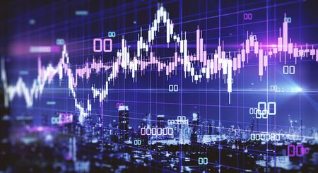 Creative glowing blurry forex chart with candlestick on blurry night city background. Trade and stats concept. Double exposure Imagens