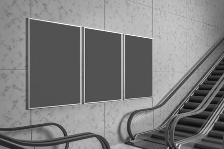 Train station interior with escalator and blank banner on concrete wall. Mock up, 3D Rendering Banque d'images - 127974095
