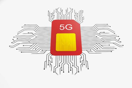 Creative 5G internet red circuit sim card on white background. Web speed and gadget concept. 3D Rendering Stock Photo