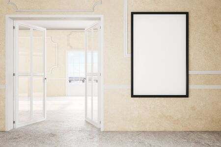 Classic interior with doors and empty poster on concrete wall. Mock up, 3D Rendering