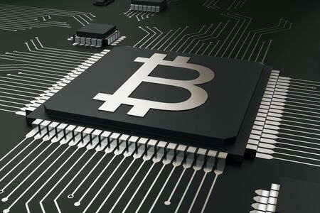 Abstract bitcoin circuit chip background. Cryptocurrency and digital money concept. 3D Rendering