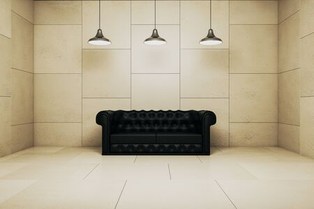 Dark tile interior with couch and lamps. Furniture concept. 3D Rendering