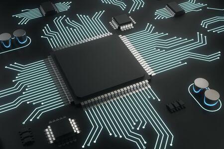 Plaque de puce de circuit vide sur fond sombre. Concept de technologie et de matériel. Maquette, rendu 3D