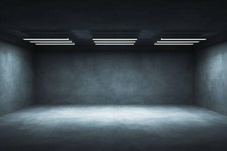 Abstracte grunge interieur met lampen en copyspace. Bespotten, 3D-rendering Stockfoto