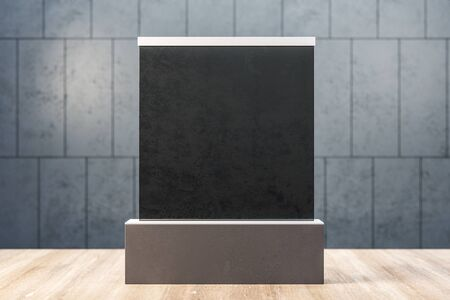 Abstract empty black banner on concrete tile wall background. Gallery and exhibition concept. Mock up, 3D Rendering Stockfoto