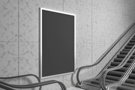 Train station interior with escalator and empty billboard on concrete wall. Mock up, 3D Rendering 스톡 콘텐츠