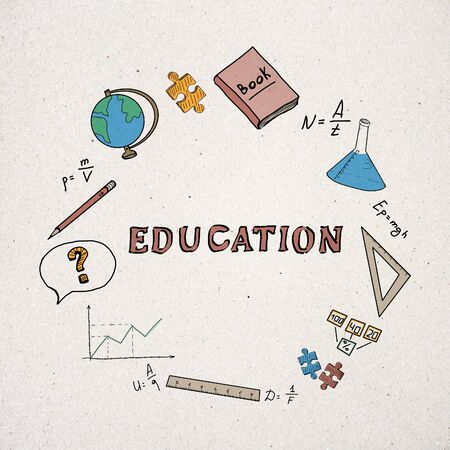 School and science concept. Creative hand drawn educational sketch on white background. 3D Rendering