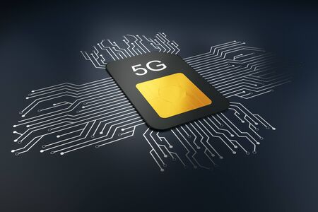 Creative 5G internet circuit sim card on dark background. Web speed and cellphone concept. 3D Rendering
