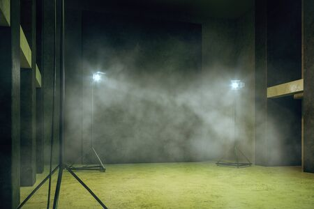 Misty green concrete interior with professional lighting equipment, copy space and smoke. 3D Rendering