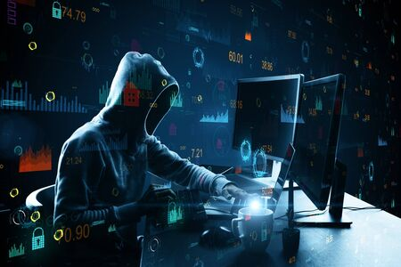 Side view of hacker at desktop with coffee cup using laptop with creative glowing big data interface. Malware and futuristic concept. Multiexposure Stock Photo