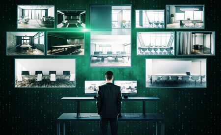 Businessman looking at abstract digital picture gallery on binary code background. Media and technology concept