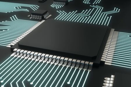 Blank circuit chip plate on dark background. Technology and hardware concept. Mock up, 3D Rendering 写真素材