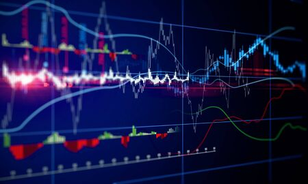 Glowing blurry forex chart on dark background. Finance and investment concept. 3D Rendering