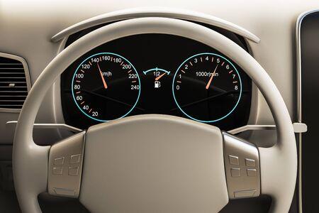 Primo piano del volante dell'auto bianco. Trasporto, design e concetto di lusso. Rendering 3D