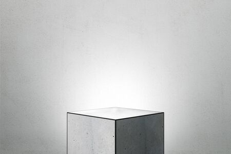 Abstract square finger pedestal on grey background. Product and presentation concept. Copy space. 3D Rendering