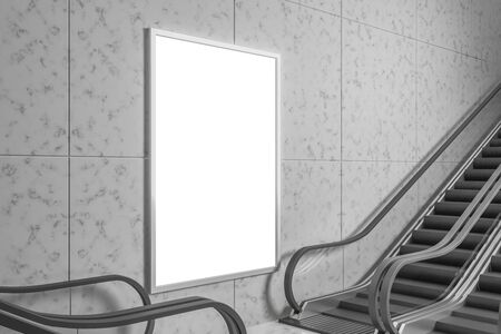 Escalator with empty poster on concrete wall. Subway station. Mock up, 3D Rendering Banco de Imagens