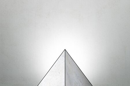 Abstract triangle tip on grey background. Product and presentation concept. Copy space. 3D Rendering