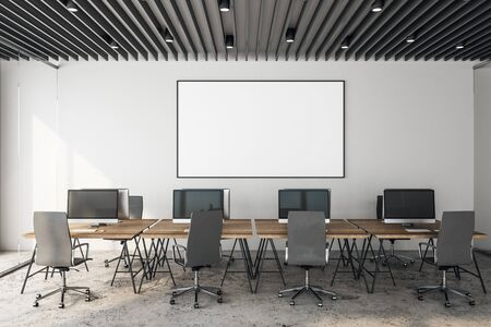 Modern coworking office interior with daylight and empty billboard on wall. Workplace and design concept. 3D Rendering Standard-Bild - 129442037