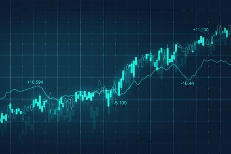 Abstract glowing blue forex chart background. Currency and stats concept. 3D Rendering Zdjęcie Seryjne