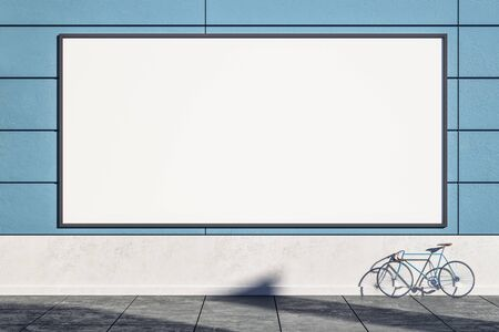 Empty blue exterior wall with bicycle on street, empty billboard and sunlight. Mock  up, 3D Rendering Stock Photo