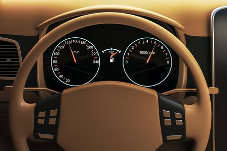 Close up of brown car steering wheel. Transportation, design and luxury concept. 3D Rendering