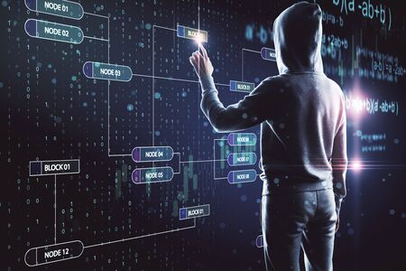 Hacker using creative glowing big data screen. Malware and futuristic concept. Multiexposure