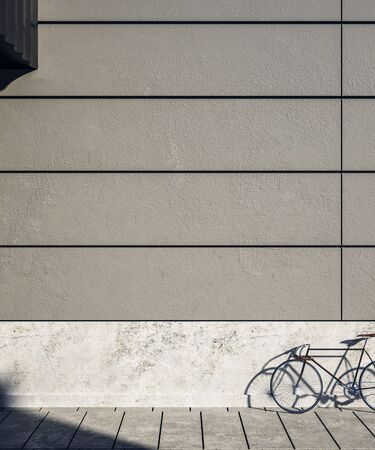 Empty concrete exterior wall with bicycle on street, empty copyspace and sunlight. Mock  up, 3D Rendering