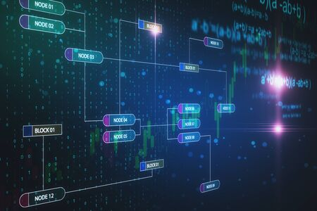 Creative glowing big data wallpaper with digital nodes. Technology and programming concept. 3D Rendering
