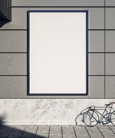 Empty concrete exterior wall with bicycle on street, empty poster and sunlight. Mock  up, 3D Rendering