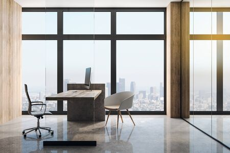 City view from big windows in modern loft style office with wooden wall, table, concrete floor and glass wall. 3D Rendering