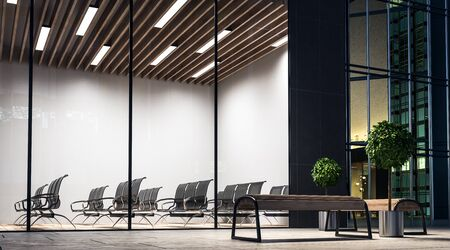 Empty modern conference room with black furniture and wooden ceiling in the night. 3d rendering