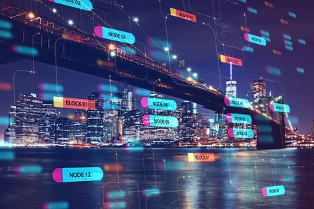 Programming and technology concept with digital node tree signs screen and night megapolis city with the bridge. Double exposure. 免版税图像