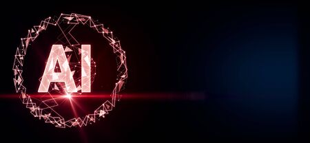 Artificial intelligence concept with big AI letters and red flash at dark background. 3D Rendering