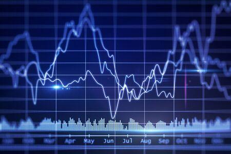Illustration de graphique financier lumineux abstrait. concept d'investissement. rendu 3D Banque d'images