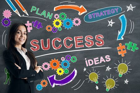 Success, finance and ideas concept with satisfied businesswoman and blackboard with creative business sketch as a background. Foto de archivo - 128641846