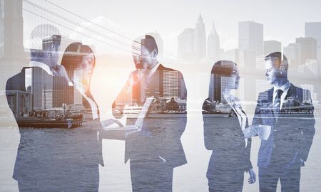 Multi exposure of group of business people discuss on the background of the city Stock Photo