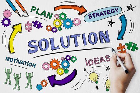Concept de réussite, de solution et de marketing avec un croquis d'entreprise créatif dessiné à la main et une main d'homme avec un stylo.