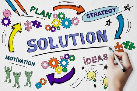 Success, solution and marketing concept with creative hand drawn business sketch and man hand with pen.