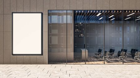 Advertising concept with blank white poster on business center wall with modern conference room with glass wall. 3D Rendering Фото со стока
