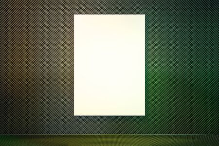 Abstract green gradient interior with empty poster on wall. Mock up, 3D Rendering 스톡 콘텐츠