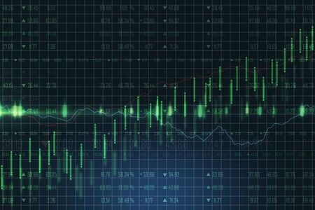 Handels- und Wachstumskonzept mit hellgrünen Grafiken nach oben und Linien am Geschäftsdiagrammhintergrund. 3D-Rendering