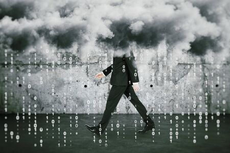 Big data cocnept with walking man under clouds and numbers rain at concrete wall background.