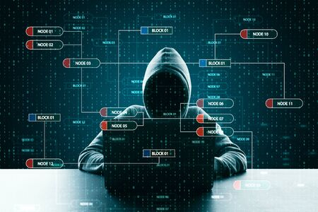 Hacker at desktop using laptop with creative glowing big data interface. Virus and futuristic concept. Double exposure