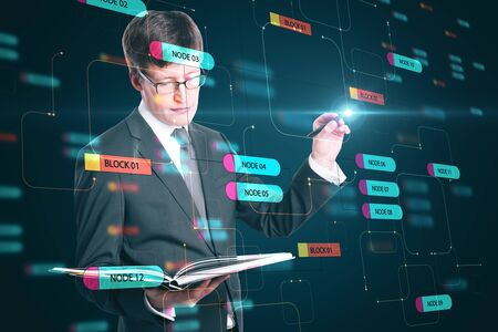 Programming concept with businessman looking in a book and touching digital screen with node tree. Double exposure.